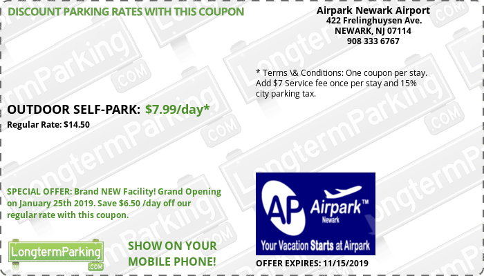 Airpark Newark Airport Newark Liberty Airport EWR Airport Parking Coupon from LongtermParking.com