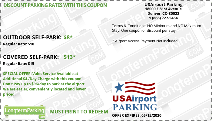 USAirport Parking Denver Airport DEN Airport Parking Coupon from LongtermParking.com