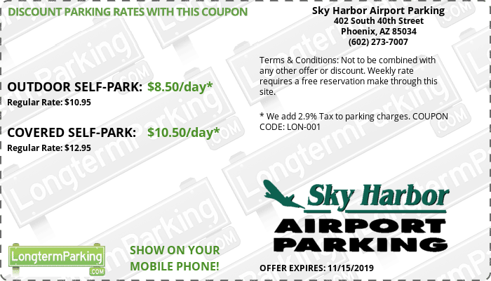 Sky Harbor Airport Parking Phoenix Sky Harbor Airport PHX Airport Parking Coupon from LongtermParking.com