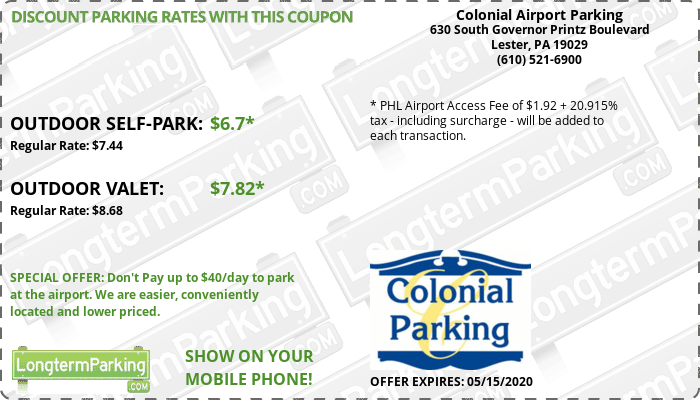 Colonial Airport Parking Philadelphia Airport PHL Airport Parking Coupon from LongtermParking.com
