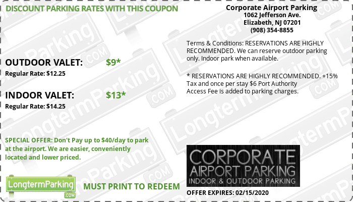 Corporate Airport Parking  Newark Liberty Airport EWR Airport Parking Coupon from LongtermParking.com