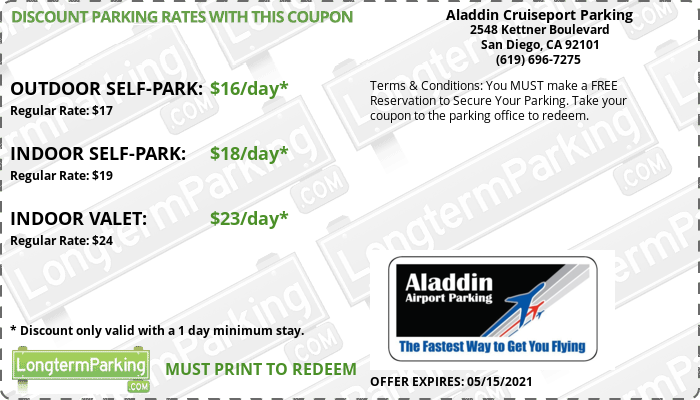 Aladdin Cruiseport Parking San Diego Cruise Port SDP Airport Parking Coupon from LongtermParking.com