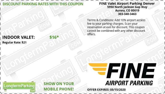 FINE Valet Airport Parking Denver Denver Airport DEN Airport Parking Coupon from LongtermParking.com